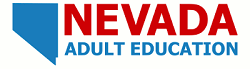 nevada adult education logo with blue nevada shape to the left