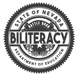 black and white seal state of nevada with battleborn and biliteracy in middle below department of education