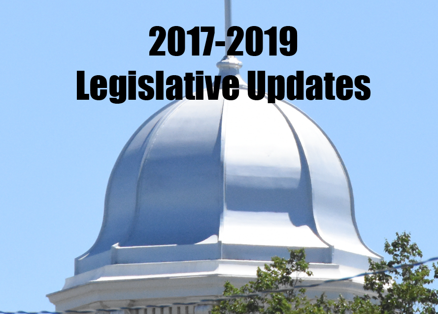 2017-2019 Legislative updates with image of the nevada capital dome